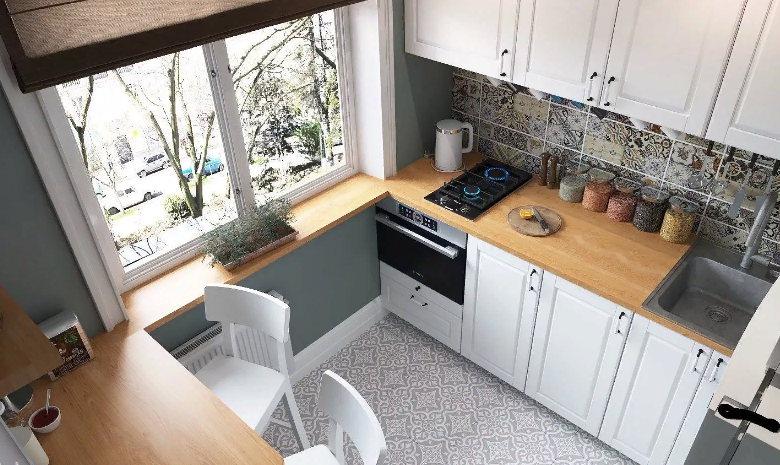 Кухня маленького размера в светлых тонах
