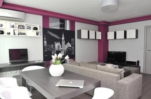 Серый и фиолетовый в интерьере