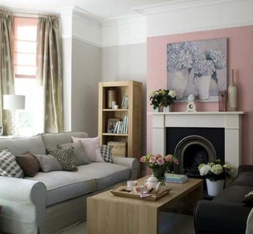 Сочетание серого розового и бежевого в интерьере