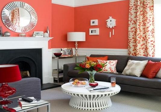 Сочетание серого с другими цветами в интерьере красный