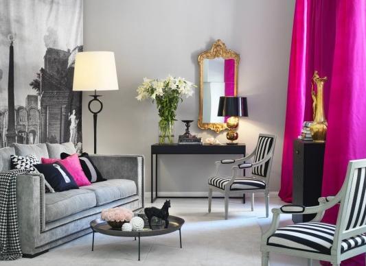 Сочетание серого с другими цветами в интерьере розовый
