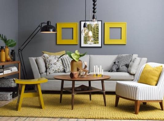 Сочетание серого с другими цветами в интерьере желтый