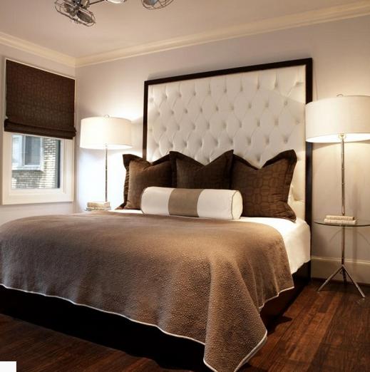 Спальня в шоколадных тонах с бежевым