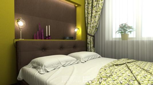 Спальня в шоколадных тонах с зеленым