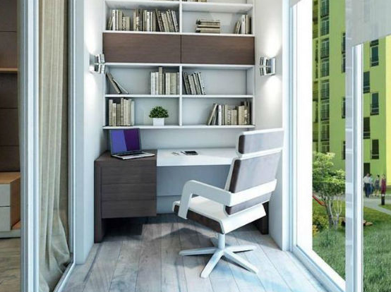 Домашний кабинет на балконе или лоджии