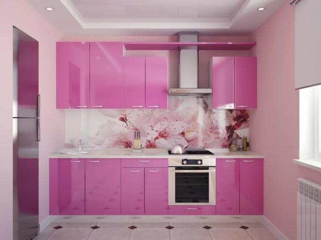 Кухня цвета фуксии фото