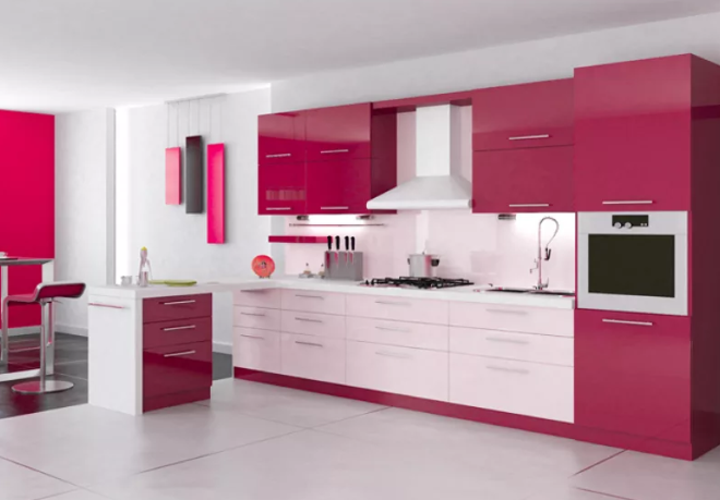 Кухня цвета фуксии с белым в интерьере