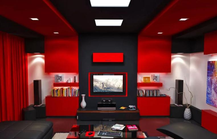 Сочетание красного и черного в интерьере