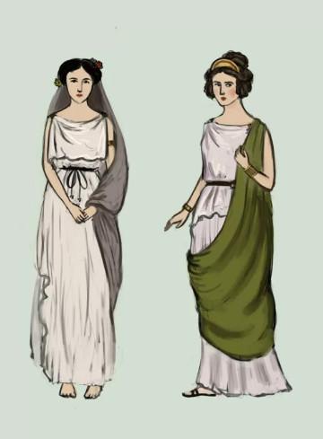 Женское платье хитон в Греции